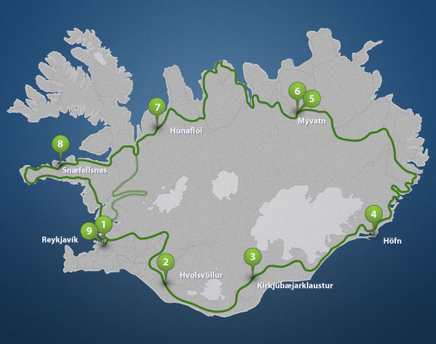 Iceland Full Circle tour route. See more tour details and prices at our website.