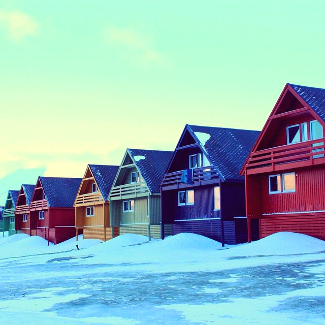 Colourful houses built on stilts in Longyearbyen