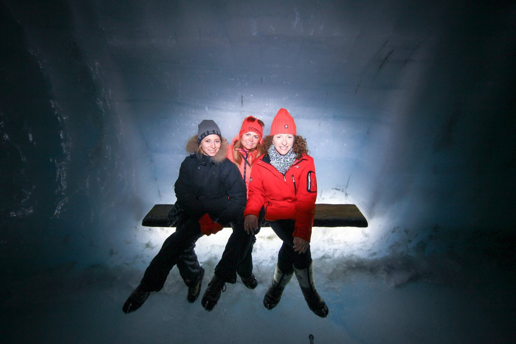 friends inside ice tunnel