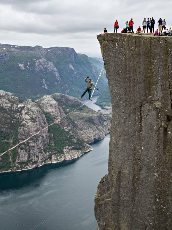 Norway's Aftonbladet newspaper was on site to snap some vertigo-inducing images of slacklining at Pulpit Rock. (source)