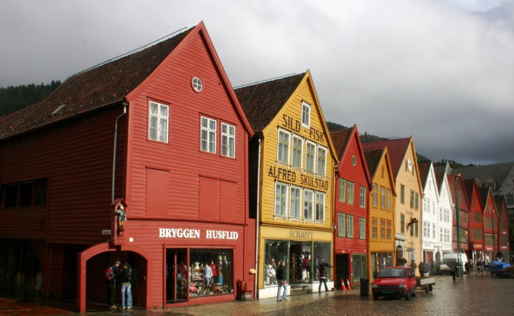 A closer look at the buildings of Bryggen, the majority of which are now shops, cafés and museums.