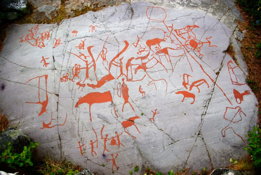 The rock art in Alta was inscribed on the UNESCO World Heritage List, the earliest carvings in the area date to around 4200 BC. The carvings are filled with a special red-ochre paint, which is simular to original painting