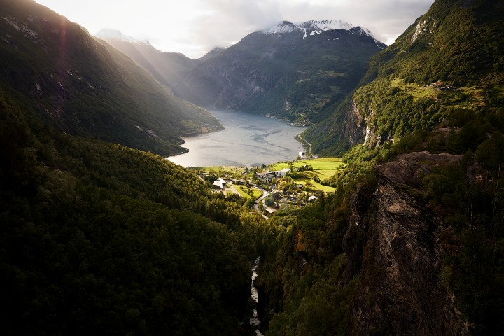 Geiranger village viewed from the Flydalsjuvet is not too shabby.