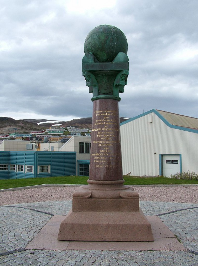 A plaque marking the coordinates of the Struve Arc in Hammerfest, Horway.