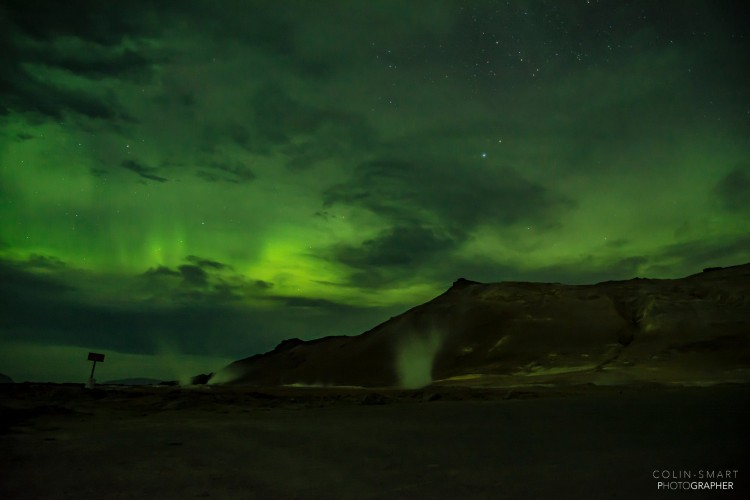 Colin Smart - lights over Hverir in North Iceland