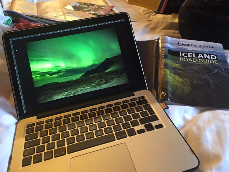Colin Smart - editing northern lights photos at Vogar Farm