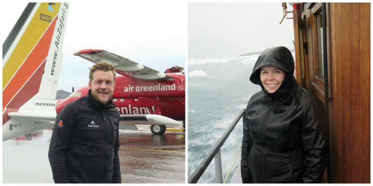 Ævar and Solveig Rút are the intrepid Nordic Visitor tracel experts that ventured over to Greenland. Here they are showing off two modes of transportation emplyed during their voyage.