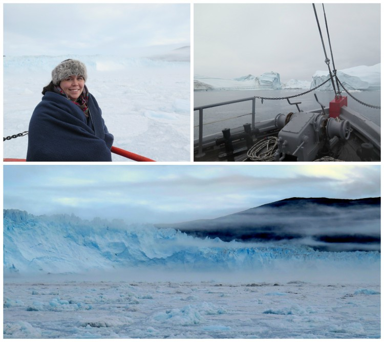 Solveig takes in the sights during a cruise to the incredible Eqi glacier.