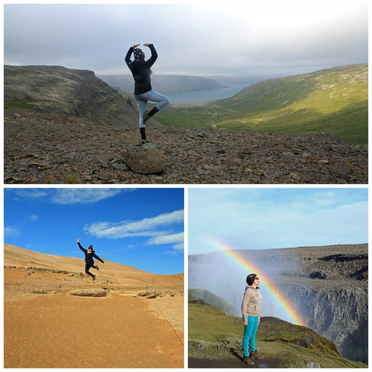 While Carston spent much of his time behind the camera, Eva hammed it up practicing her yoga at Vatnsfjörður (top), leaping at Hverarönd (the winning photo, bottom left) and tasting the rainbow at Dettifoss (bottom right).