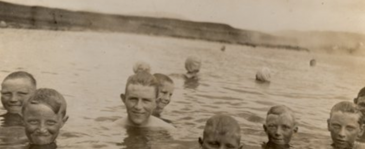 Local bathers enjoy the warm waters of what is now known as the Secret Lagoon. (Source: Secret Lagoon)