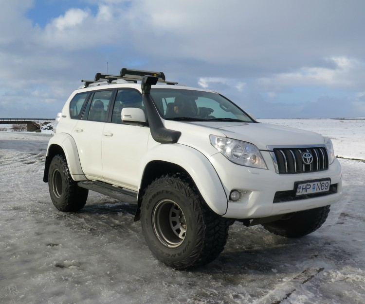 Hrafnhildur and Katrín's ride for the day was a massive and comfortable 4x4 superjeep. Now that's riding in style!