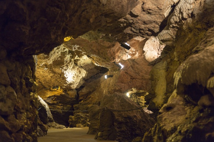 Cave System Lit with Lights