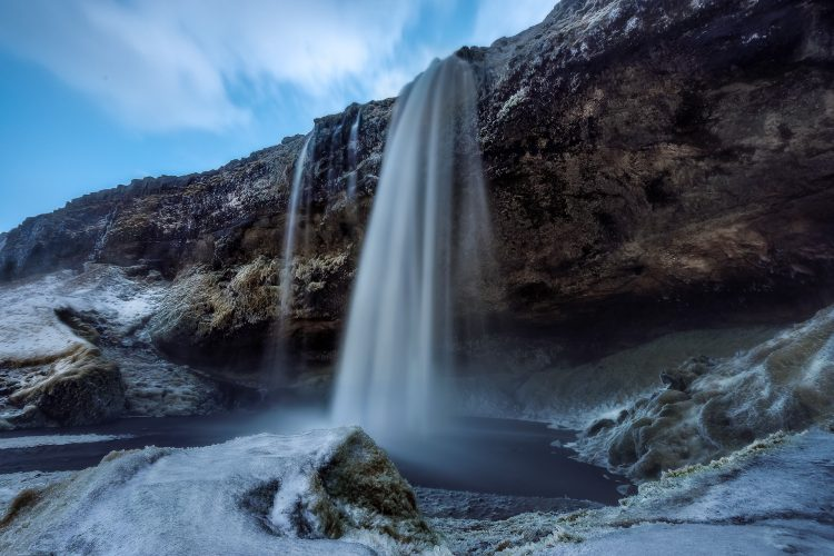 Seljalandsfoss waterfall in South Iceland in wintertime