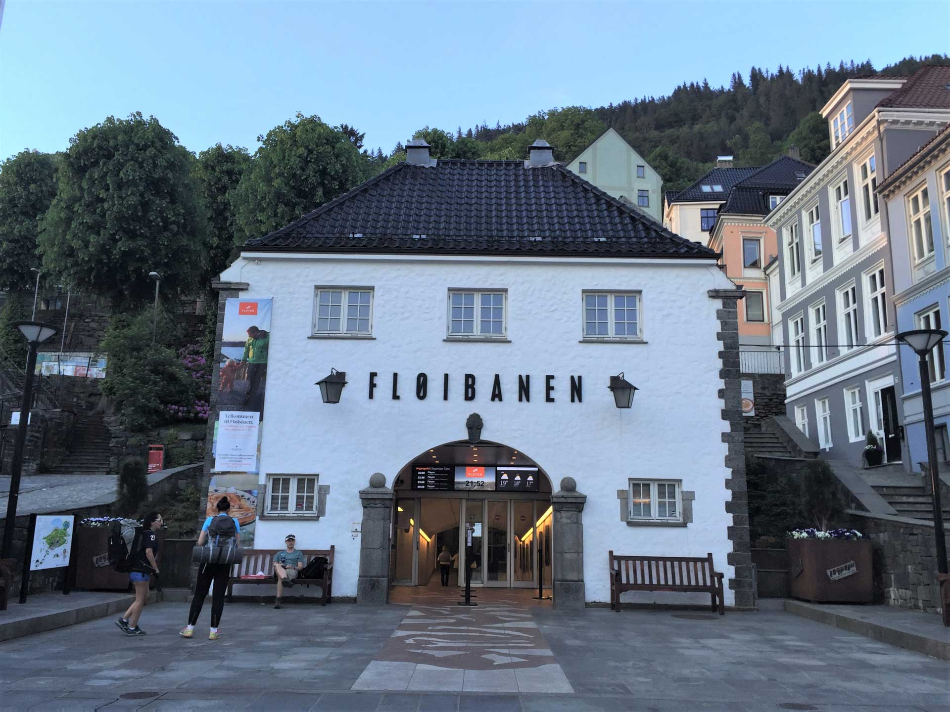 Fløibanen station in the city centre of Bergen, Norway