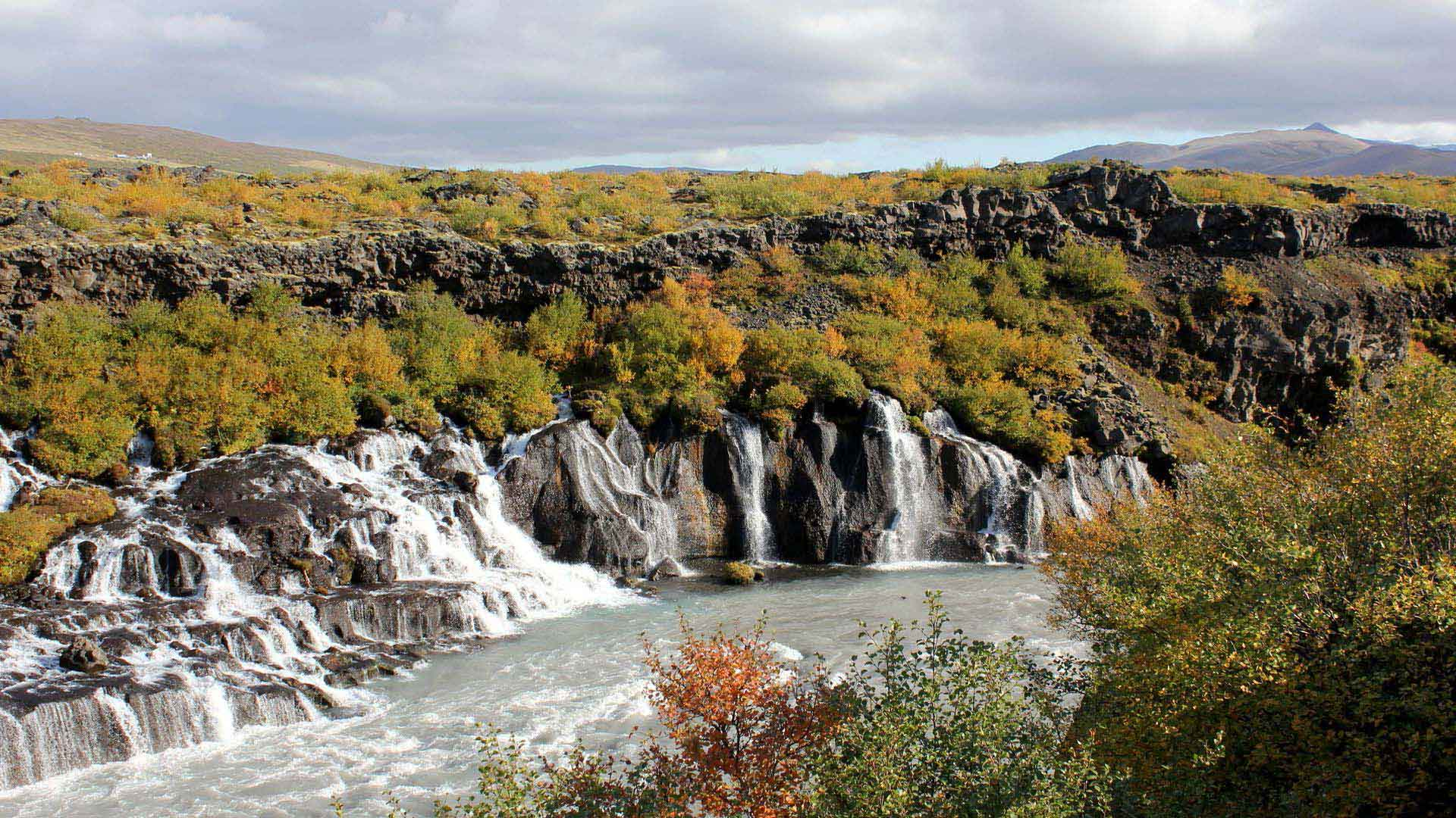 The falls of Hraunfossar in West Iceland