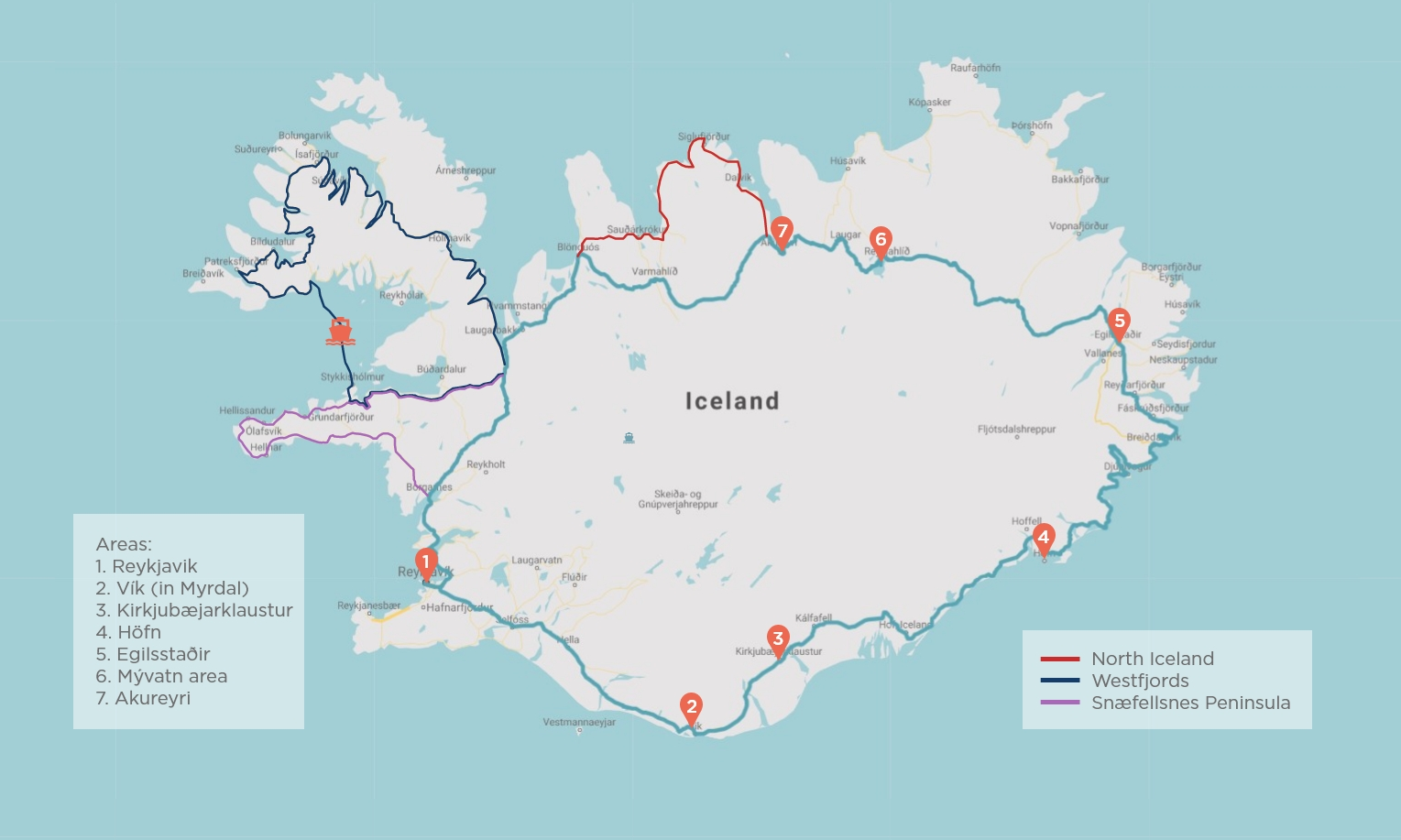 map of ring road iceland