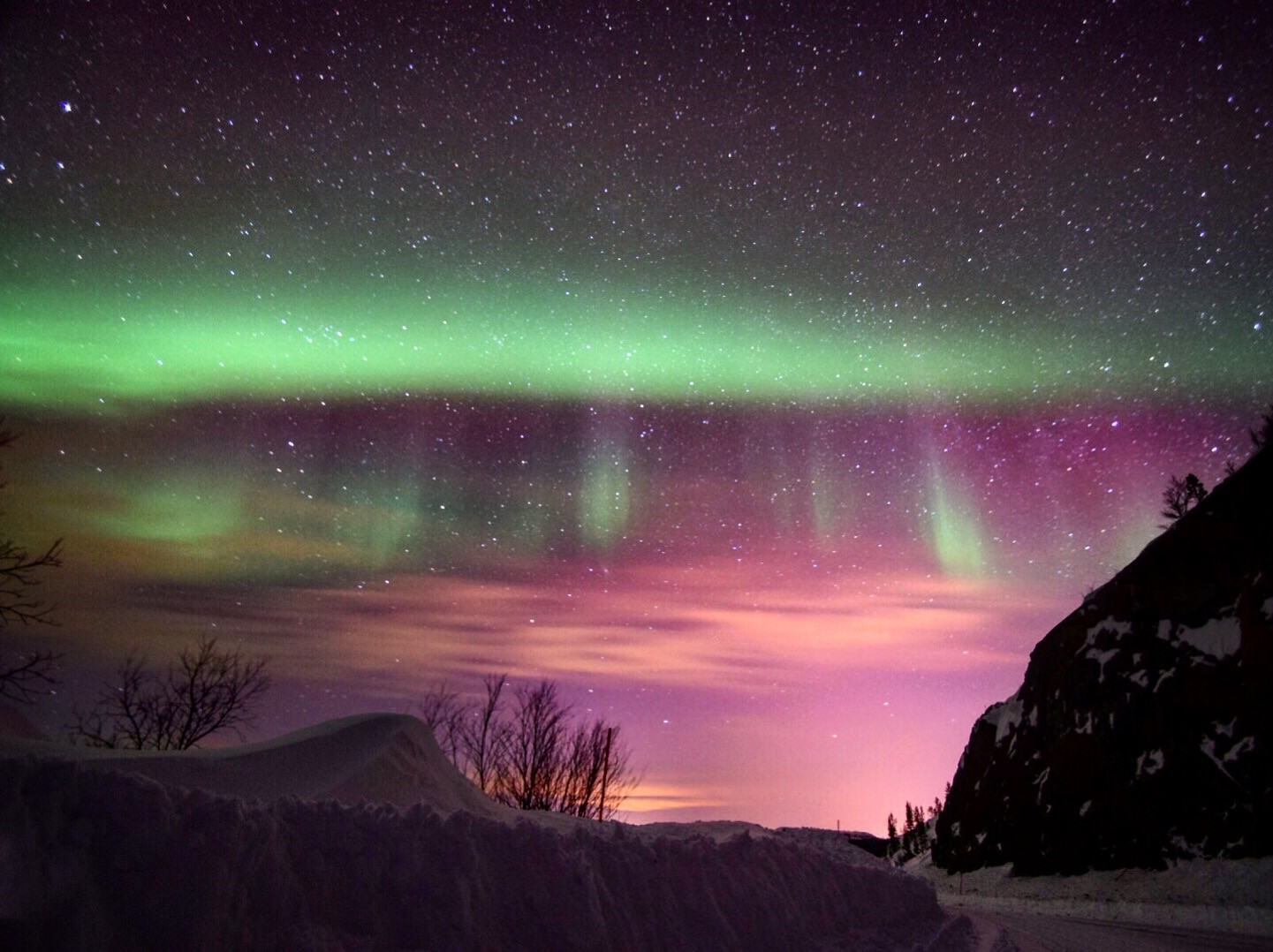 Brilliant aurora display over Kirkenes, Norway - photo: Jay Cole