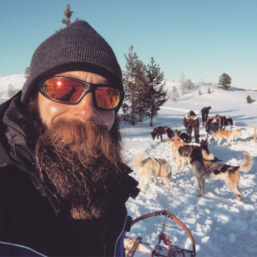 Jay Close dog sledding in arctic Norway