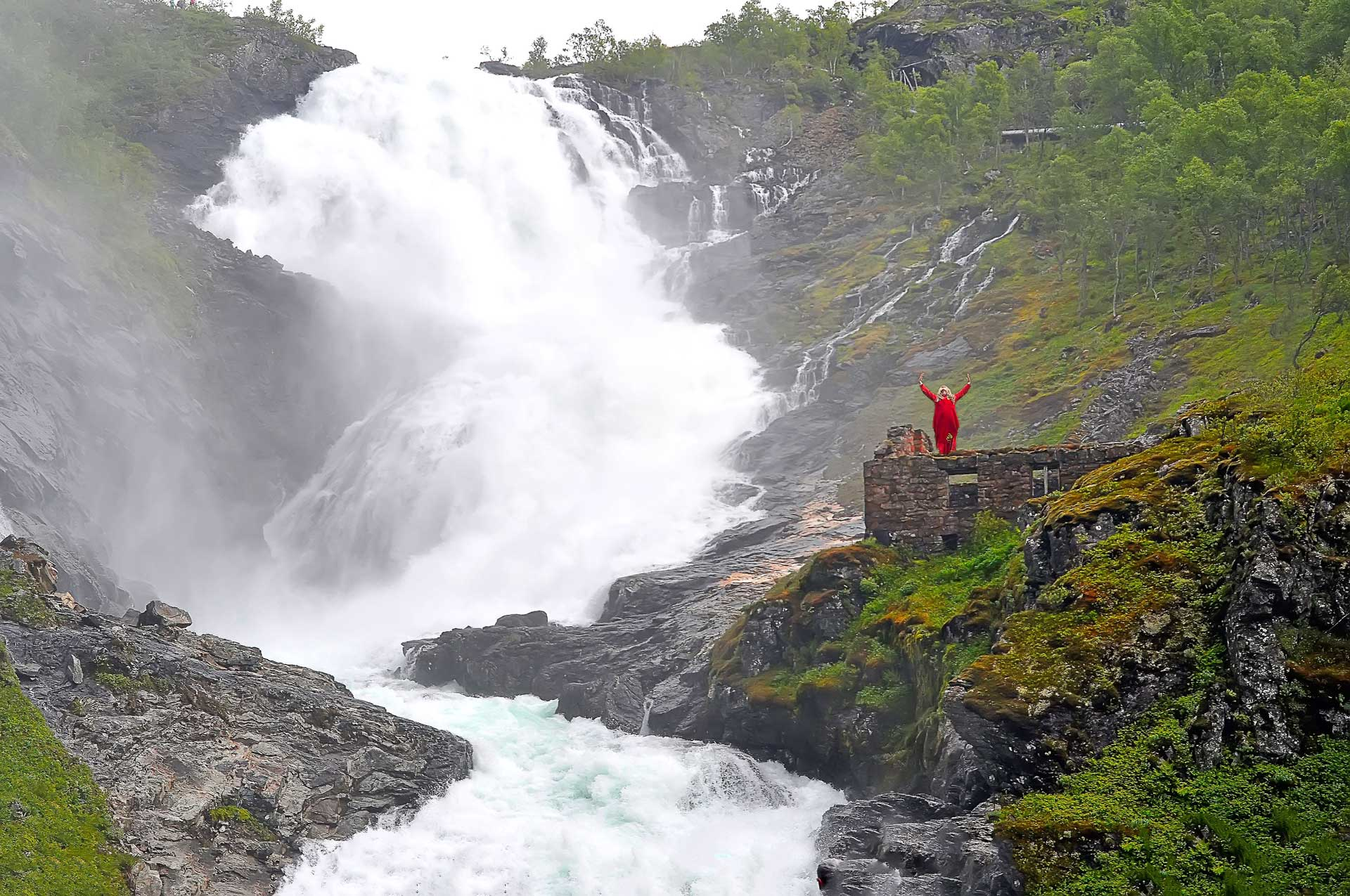 Huldra at the Kjossfossen waterfall, Norway
