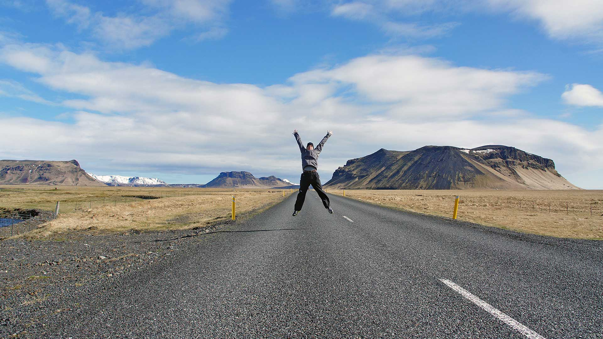 Vincent Schenk on Route 1 near Dyrhólaey in South Iceland. (Note: Please use caution when posing on or near roads.)