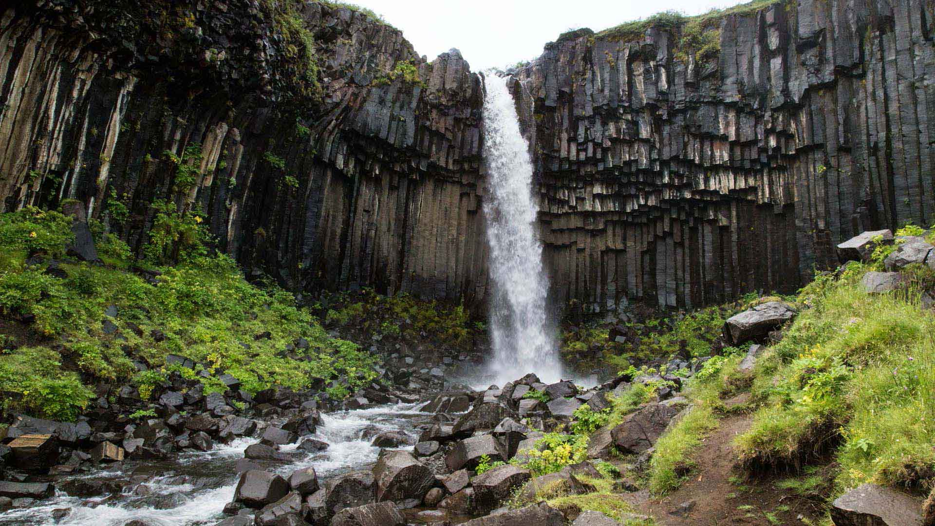 Svartifoss waterfall is renowned for its dark cliffs of basalt columns