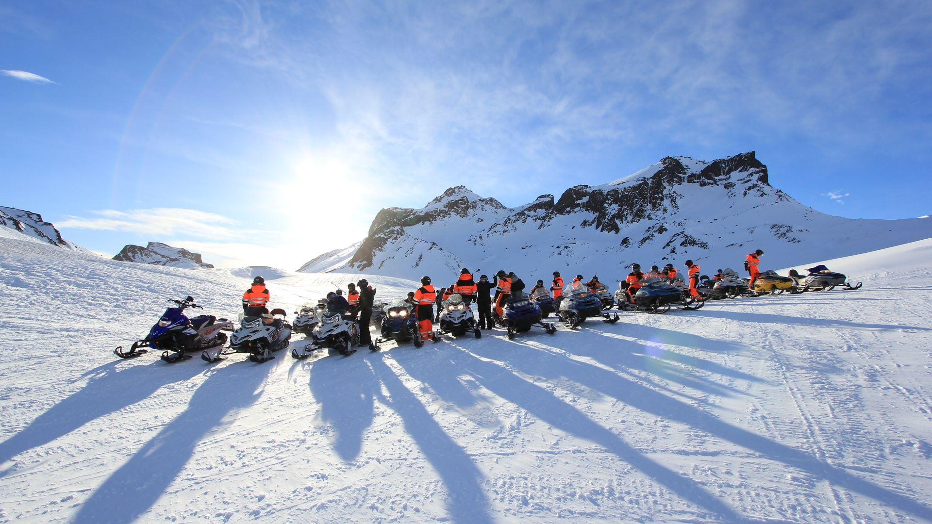 Snowmobile tour on a glacier in South Iceland
