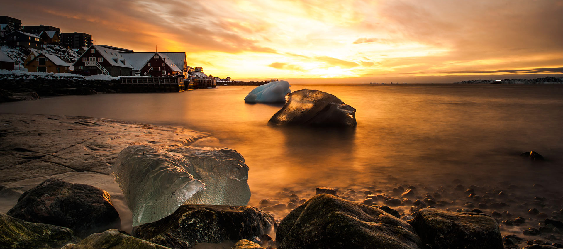Sunset at the old colonial harbour in Nuuk, Greenland