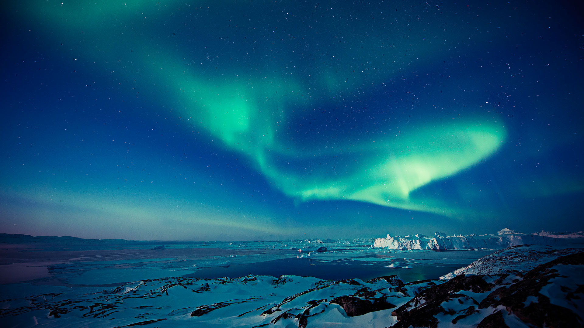Northern lights at Ilulissat in North Greenland