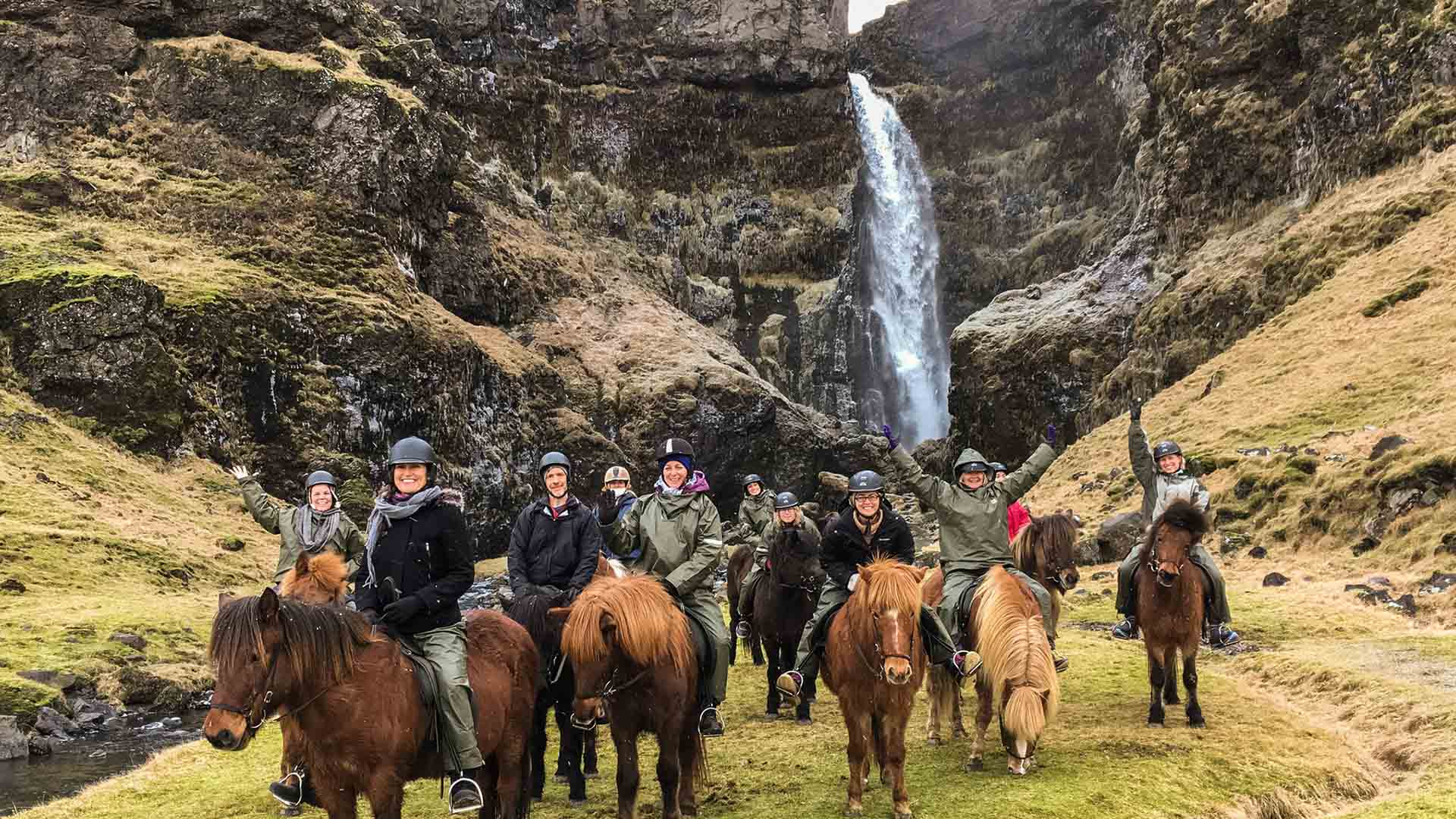 Horseback riding at Irarfoss, Iceland