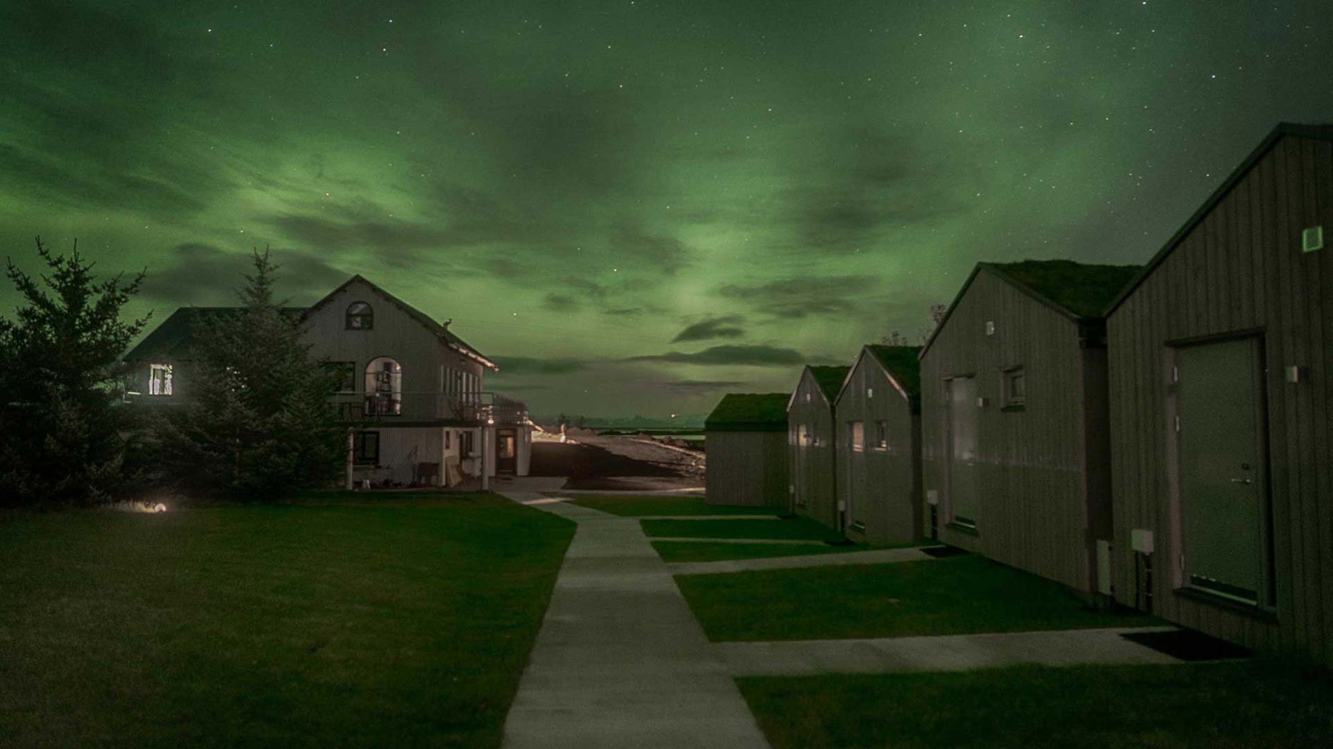 Northern lights at Magma Hotel, Iceland
