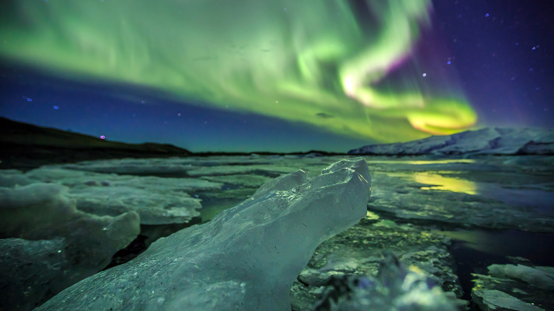 Northern lights over Jokulsarlon, Iceland
