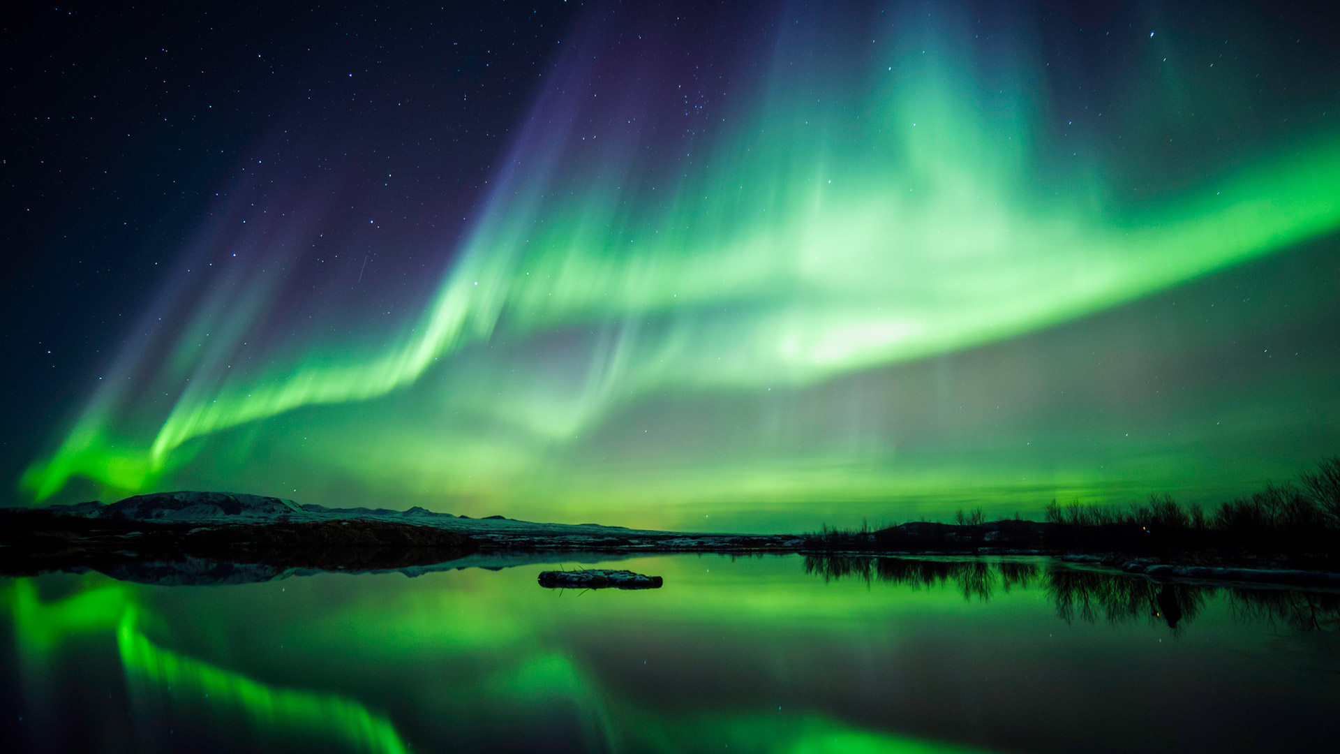Northern lights in Thingvellir National Park, Iceland