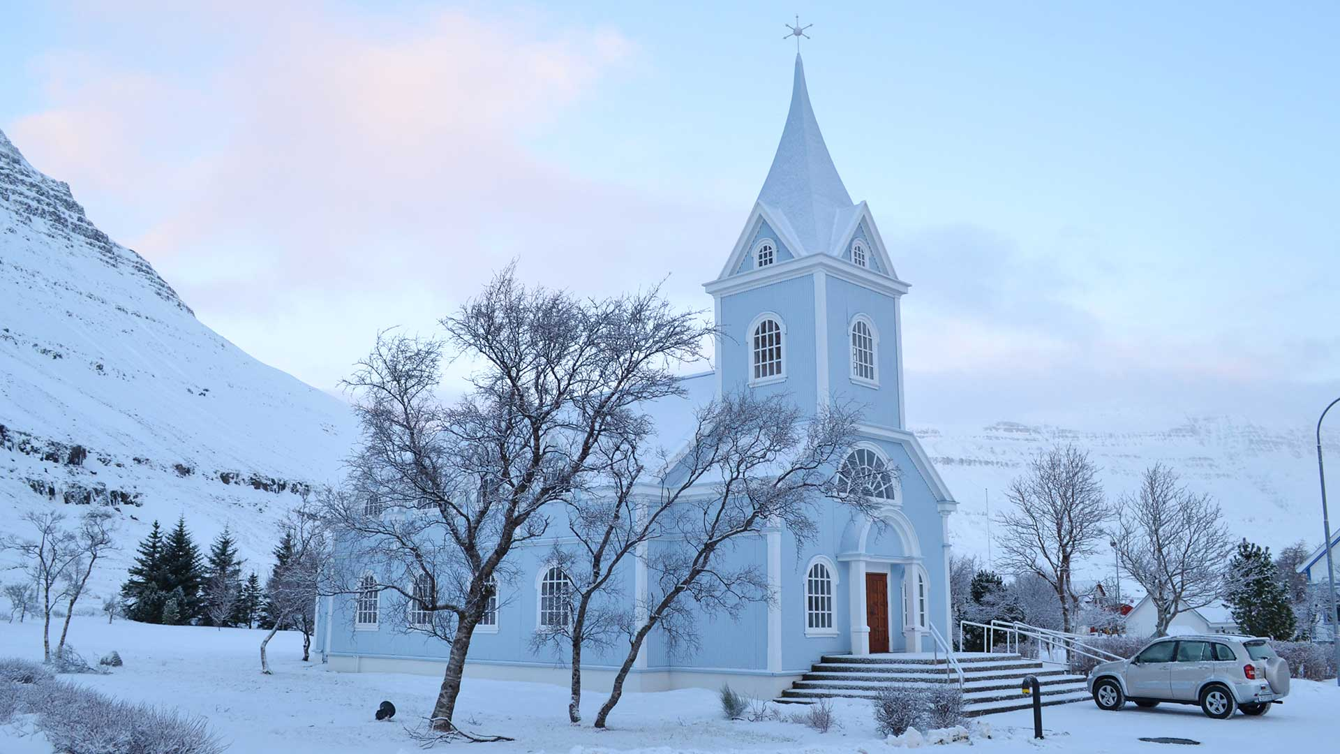 Blue church in Seydisfjordur