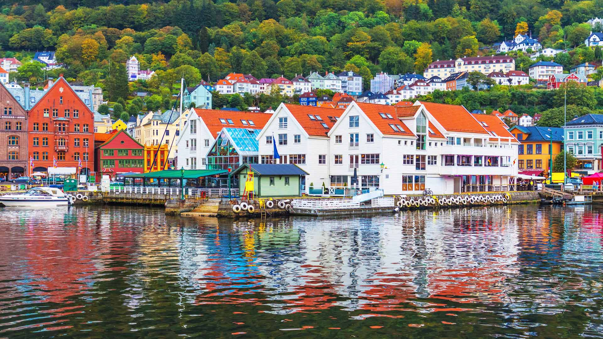 Colourful Bergen harbour view