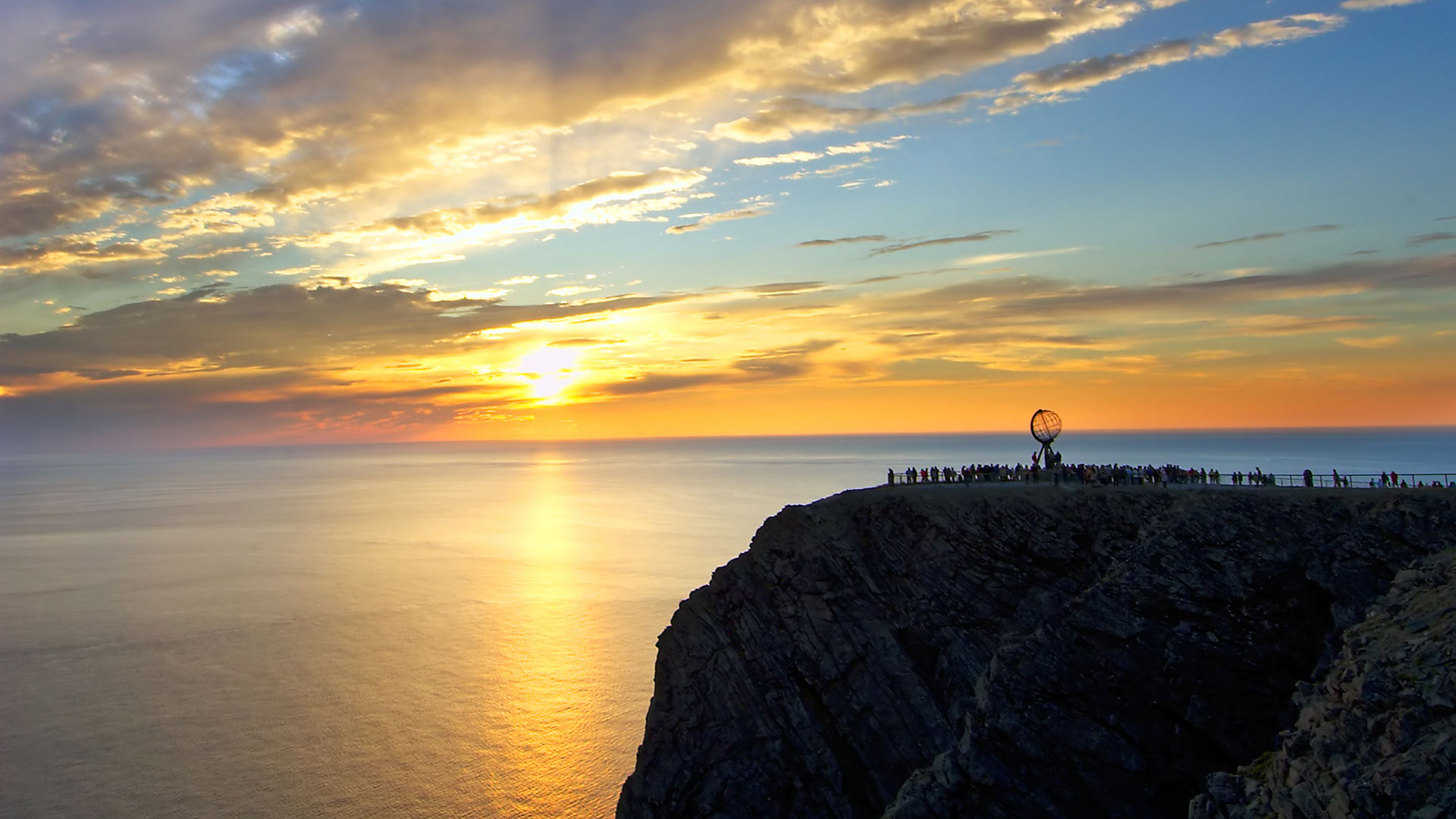 Midnight sun at the North Cape, Norway
