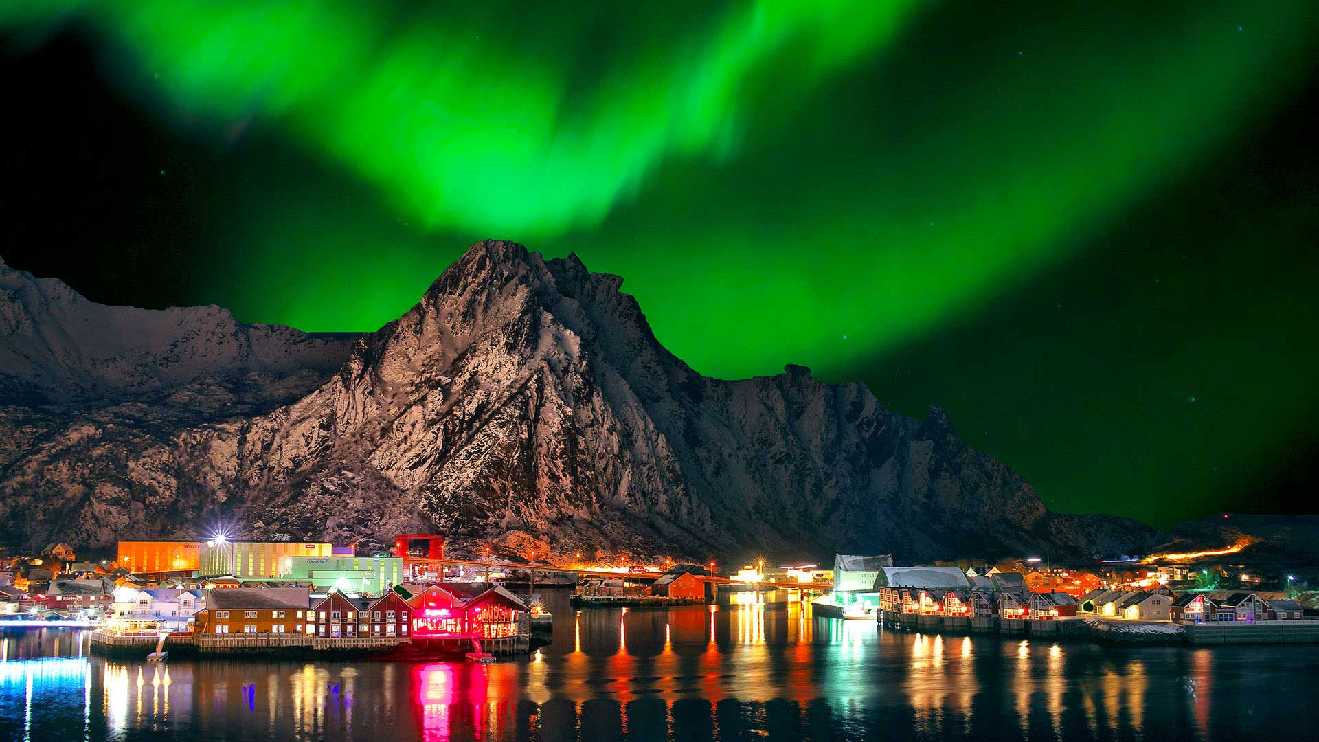Aurora borealis in Svolvaer, Norway