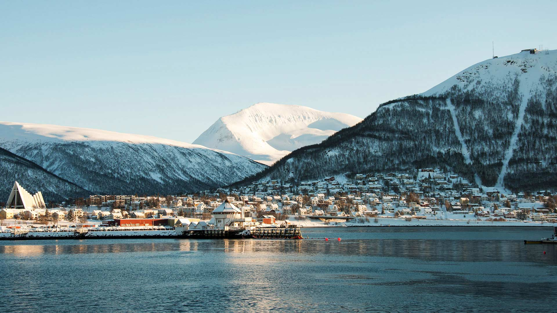 view of tromso in the snow
