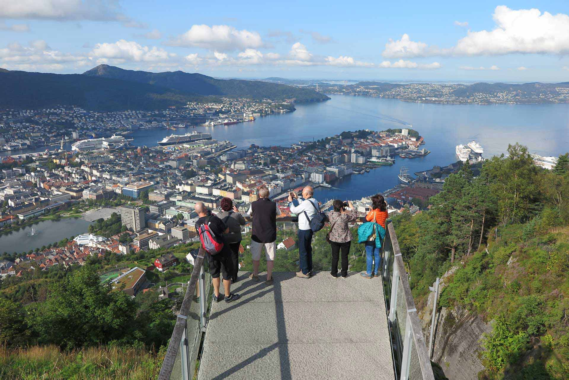 Part of the viewing platform of Mount Fløyen in Bergen, Norway