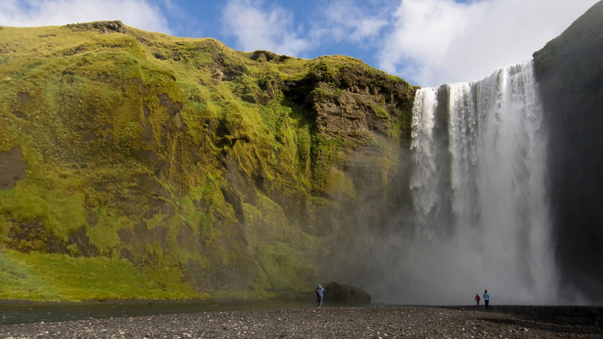 Skógafoss Waterfall during summer